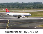 DUSSELDORF, GERMANY - MAY 21: Airplane Airbus A319-111 landed in the airport on May, 21 2011 in Dusseldorf. In 2011 Air Malta wet-leased one A320 (9H-AEN) to Sky Airline. - stock photo