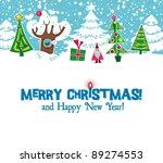 Cartoon Christmas Card. Xmas...