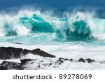 Turquoise Rolling Wave Slamming ...