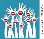 lip hands party design. | Shutterstock .eps vector #89280919