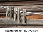 old wooden clothespins on rope. ... | Shutterstock . vector #89292634