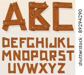 Old Grunge Wooden Alphabet ...
