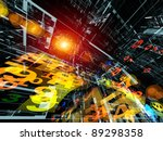 Dynamic interplay of abstract three dimensional structures,  numbers and lights on the subject of technology, computing, math and digital processing - stock photo