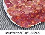 a pile of different spanish embutido, as jamon, chorizo and lomo embuchado - stock photo