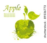 watercolor green apple isolated ... | Shutterstock . vector #89336773