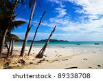 view of white sandy beach anse... | Shutterstock . vector #89338708