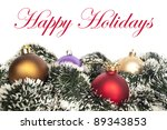 Colorful Christmas ornaments isolated on white - stock photo