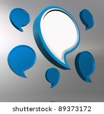 3D reflective speech bubbles on grey background. - stock photo