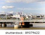 Hungerford Bridge and Golden Jubilee Bridges - stock photo