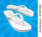 white sandals on blue background | Shutterstock .eps vector #89387680