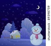 christmas cartoon  snowman on a ...   Shutterstock . vector #89398759