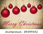 Grunge Christmas background with red Christmas ornaments - stock photo