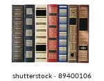 Old Books In A Row. Isolated...