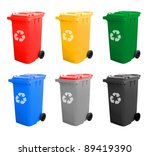 colorful recycle bins isolated... | Shutterstock . vector #89419390