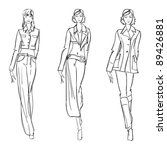 sketch. fashion girl. hand... | Shutterstock .eps vector #89426881