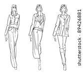 sketch. fashion girl. hand... | Shutterstock .eps vector #89426881