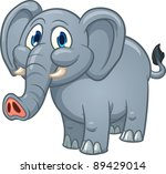 baby,cartoon,character,cute,elephant,friendly,gradient,gray,happy,isolated,standing,vector