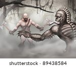 swamp creatures and barbarian | Shutterstock . vector #89438584