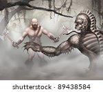 swamp creatures and barbarian | Shutterstock . vector #89438584