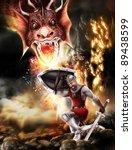 Dragon Slayer Fighting Dragon