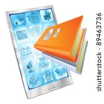 book icon coming out of phone... | Shutterstock .eps vector #89463736
