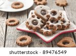 Linzer Cookies On Old Wood Table