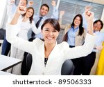 business woman with arms up... | Shutterstock . vector #89506333