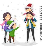 Illustration of a Family Enjoying a Winter Day - stock vector