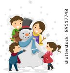 Illustration of a Family Playing with a Snowman - stock vector