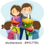 Illustration of a Family Exchanging Christmas Gifts - stock vector