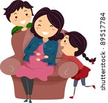 Illustration of a Pregnant Stickwoman Surrounded by Her Kids - stock vector