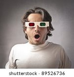 Astonished Man Wearing 3d...