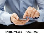 close up of a man using mobile... | Shutterstock . vector #89533552