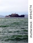 The island Alcatraz with the prison in the San Francisco bay. - stock photo