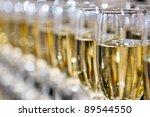 Closeup Of White Wine Glasses...