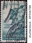 Small photo of UNITED STATES OF AMERICA - CIRCA 1955: stamp printed in USA, shows Great Stone Face, New Hampshire, live free or die, circa 1955.