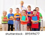 group classmates standing in a... | Shutterstock . vector #89549677