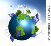 Green Planet Earth With Solar...
