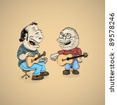 two cartoon folk singer with guitar - illustration - stock vector