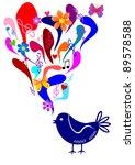 Blue Singing Bird   Illustration