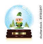 snow globe with elf | Shutterstock .eps vector #89581897