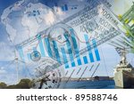 business collage with financial ... | Shutterstock . vector #89588746