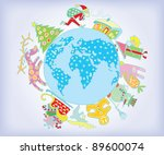 new year on the planet  vector... | Shutterstock .eps vector #89600074