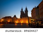 old town square at night ... | Shutterstock . vector #89604427