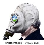 Man In Gas Mask Isolated On...
