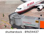 DUSSELDORF, GERMANY - MAY 21: Airplane Boeing 737-86J landed in the airport on May, 21 2011 in Dusseldorf. The AirBerlin is the second largest airline in Germany. - stock photo