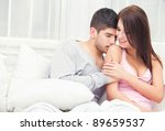 lovely young couple sitting... | Shutterstock . vector #89659537
