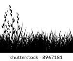 grass vector illustration / horizontal / black silhouette - stock vector