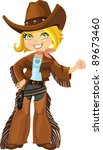 cowgirl with revolver | Shutterstock .eps vector #89673460