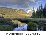 Reflection of mountains and forest in a pond. Colorado, USA - stock photo